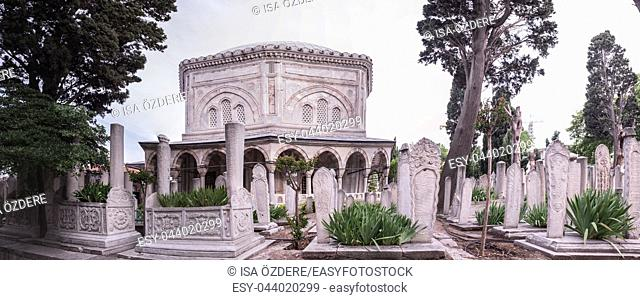 Exterior view of Tomb of Hurrem (Roksolana) Sultan who is wife of the legendary Turkish Sultan Suleyman in Suleymaniye mosque, Istanbul. 04 June,2017