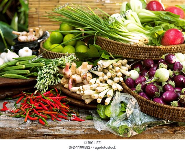 An arrangement of vegetables, spices and fruits from Asia
