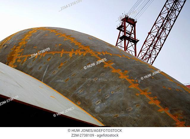 Crane,Shipbuilding, Ha Long Ship Yard, North Vietnam, Asia