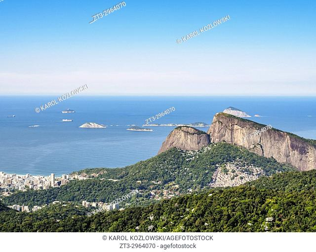 Dois Irmaos Mountain seen from the Tijuca Forest, Rio de Janeiro, Brazil