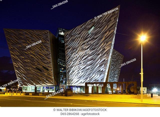 UK, Northern Ireland, Belfast, Belfast Docklands, Titanic Belfast Museum, exterior, dusk