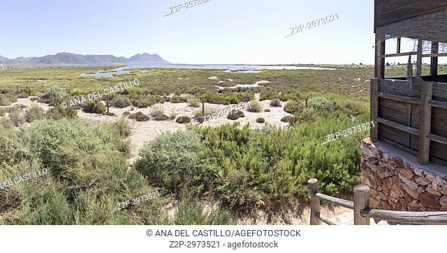 Salt lagoon in Cabo de Gata nature reserve, Almeria, Spain