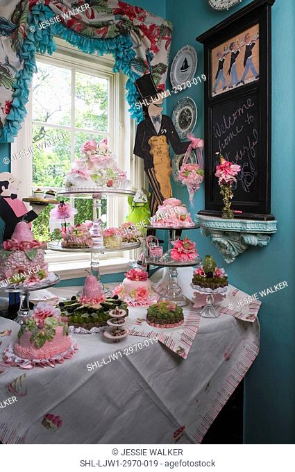KITCHEN PANTRY: Butler theme with hand made silk pastries, cakes and tarts on glass cake stands, vintage linens on cabinet and on window chalkboard