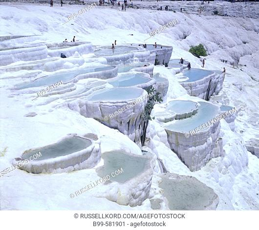 Travertine Pools, Limestone Terraces, Pamukkale, Turkey