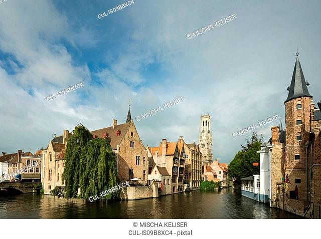 Buildings on canal, Bruges, West Flanders, Belgium, Europe