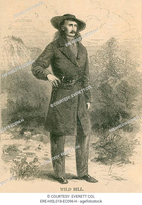 Wild Bill Hickok 1837-1876, portrait engraving of the Wild West celebrity published in Harper's Monthly magazine in February 1867