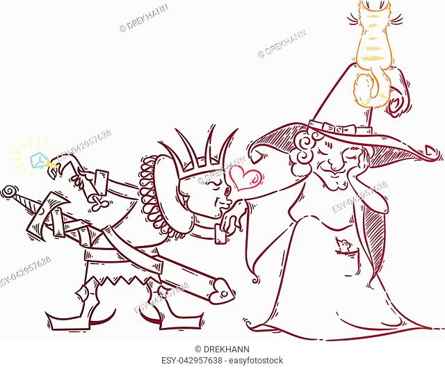 Cute cartoon with witch and lich. Love in happy Halloween. Illustration vector