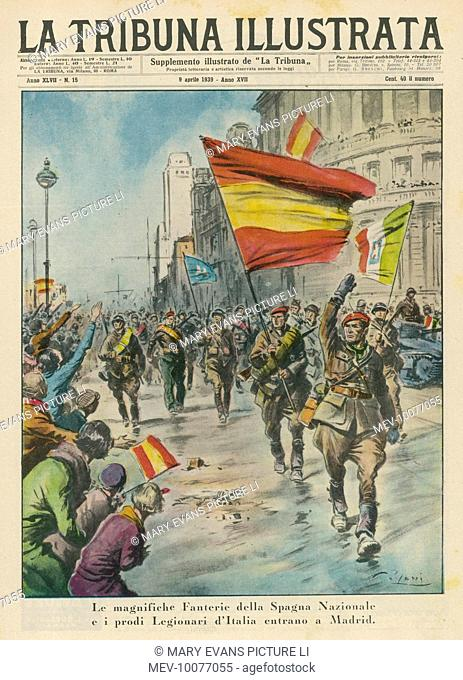 Franco's victorious army enters Madrid, Stock Photo, Picture
