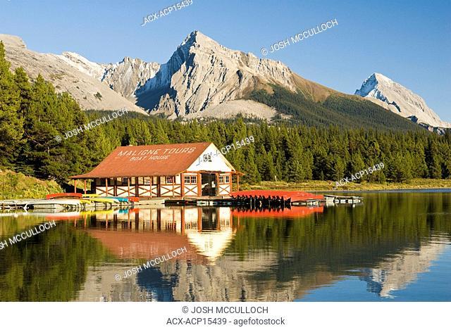 The boathouse at Maligne Lake in Jasper National Park, Alberta, Canada