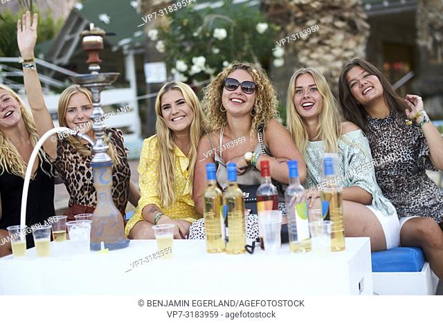 party women at music festival Starbeach on 13. August 2018 in Chersonissos, Crete, Greece