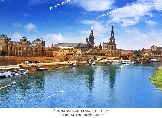 Dresden skyline reflecion in Elbe river in Saxony of Germany