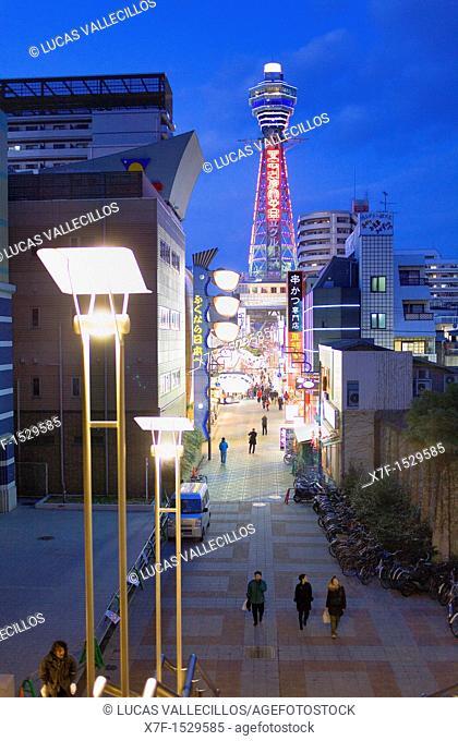Tsutenkaku tower and Tsutenkaku-minami Hondori Shotenkai street, Shinsekai neighborhood,Osaka, Japan,Asia