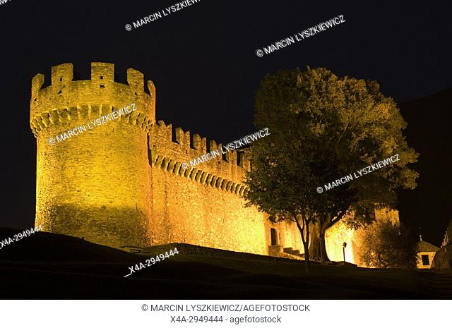 Motebello Castle in Bellinzona by Night