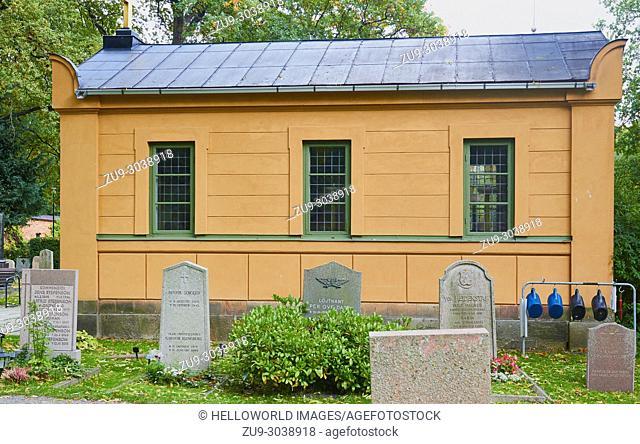 Chapel and graves in Galarvarvskyrkogarden (galley shipyard cemetery), Djurgarden, Stockholm, Sweden, Scandinavia. Established in 1742