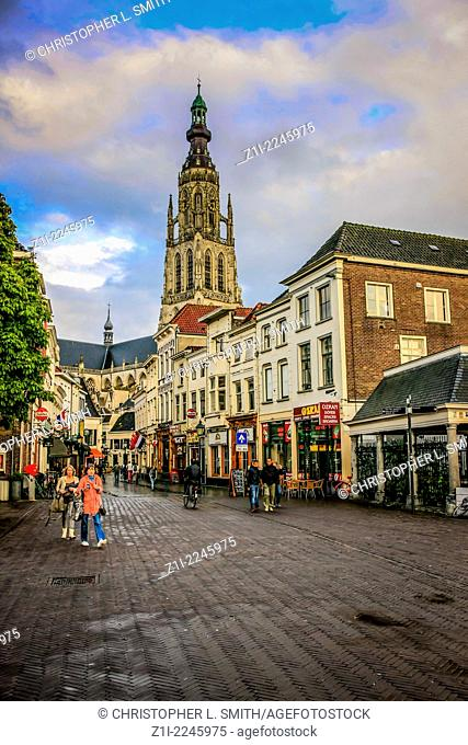 People out in Grote Markt area of Breda Holland