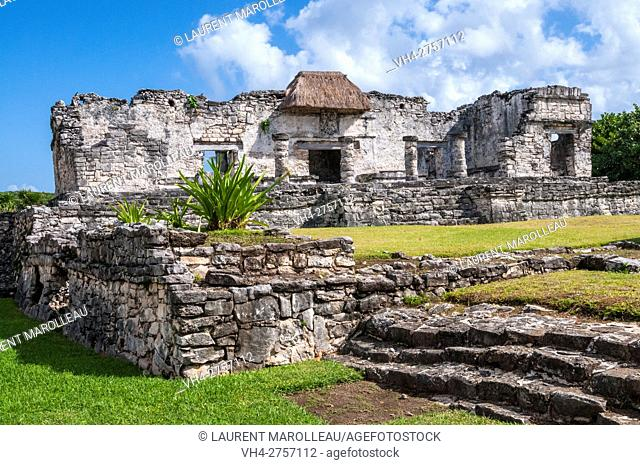 House of the Halach Uinic (Great Lord), Mayan ruins of Tulum, State of Quintana Roo, Yucatan Peninsula, Mexico, North America