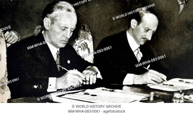 Photographic print showing Joachim von Ribbentrop (1893-1946) Foreign Minister of Nazi Germany, and Georges Bonnet (1889-1973) leading figure in the Radical...