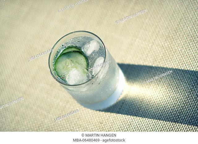 ice-cold gin tonic on sea wead pad