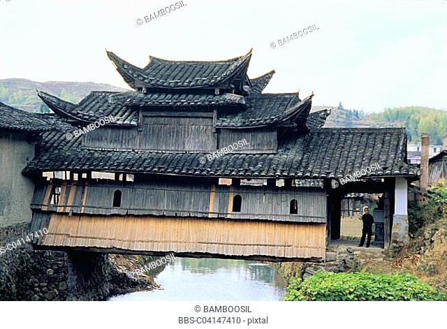 Ancient porch bridge, Pingnan County, Fujian Province of People's Republic of China