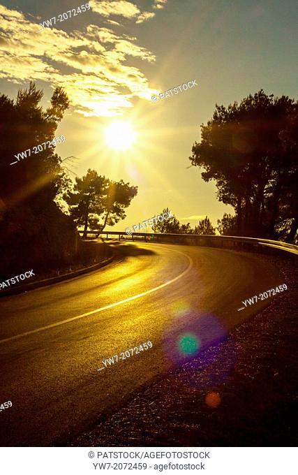 Sunny road near Blato, Korcula island, Croatia