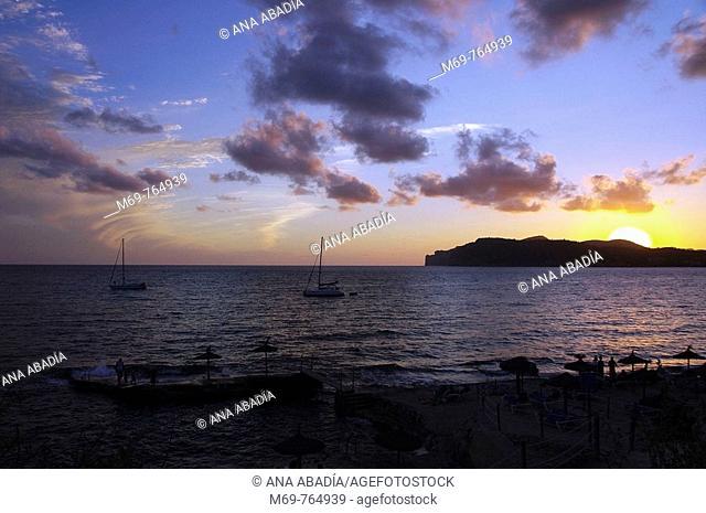 Sunset, Costa de la Calma, Majorca. Balearic Islands, Spain