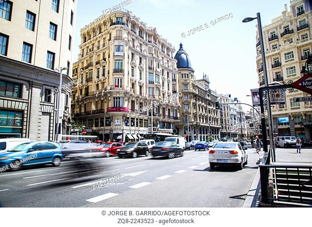 View of Gran Via, main shopping street in Madrid