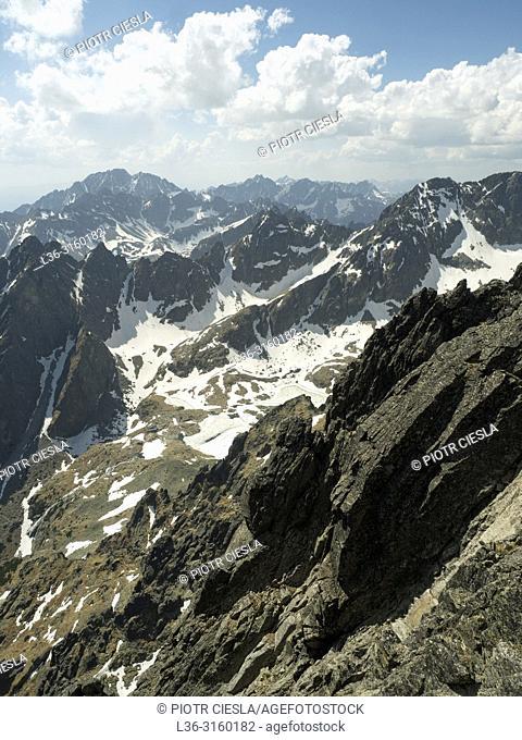 View from Lomnica Peak (Lomnicky Stit). Tatra mountains. Slovakia