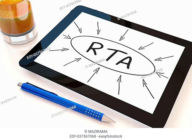 RTA - Real Time Advertising - text concept on a mobile tablet computer on a desk - 3d render illustration