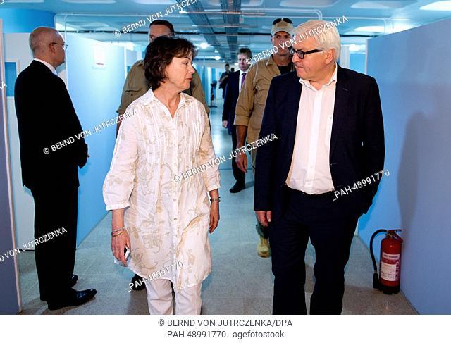 German Foreign Minister Frank-Walter Steinmeier (R)visits the UNHCRregistration center with UNHCRrepresentative in Lebanon Ninette Kelley (L) in Ksara