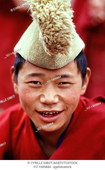 Buddhist novice, Langmusi, on the border of Sichuan and Gansu provinces, China, North-East Asia