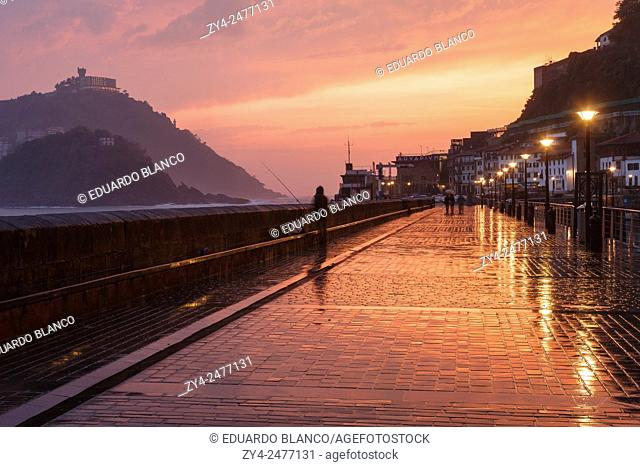 Sunset in Port of Donostia. San Sebastian. Euskadi. Vasque country. Spain. Europe