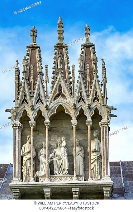 Virgin Mary Angels Statues Cathedral of Virgin Mary Piazza del Miracoli Pisa Tuscany Italy. Completed in 1100s