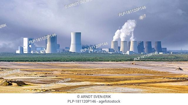 Boxberg Power Station / Kraftwerk Boxberg, lignite-fired power plant and Nochten opencast pit near Weißwasser / Weisswasser, Saxony, Eastern Germany