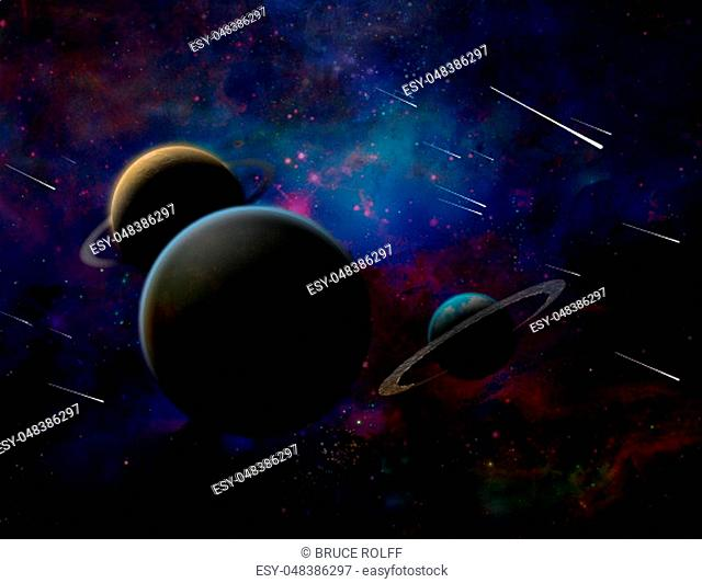 Exosolar planets and meteor shower. 3D rendering