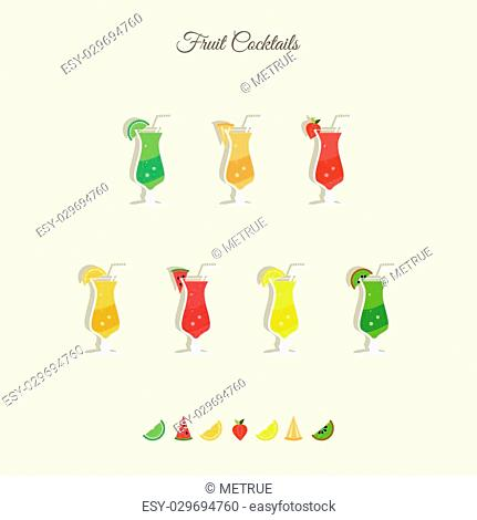set of fresh, fruit cocktails icons isolated on white background. vector tropical juice drinks. bar menu design elements