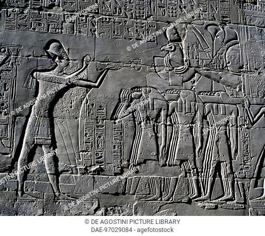 Ramesses II making sacrifices in front of the sacred boat, relief, interior walls of the Great Hypostyle Hall, Karnak temple complex (Unesco World Heritage List