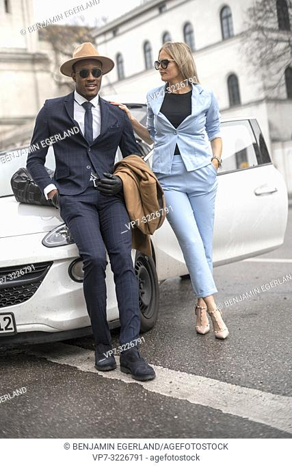 couple, car, fashionable, blogger, style, street, city, in Munich, Germany