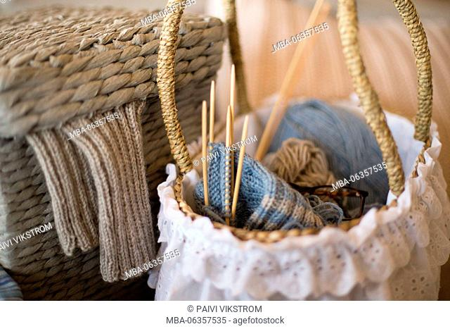 ball,ball of wool,basket,blue,combined,concept,craft,design,fashion,fiber,footwear,handmade,hobby,homemade,knit,leisure,needle,new,process,relax,scarf,socks