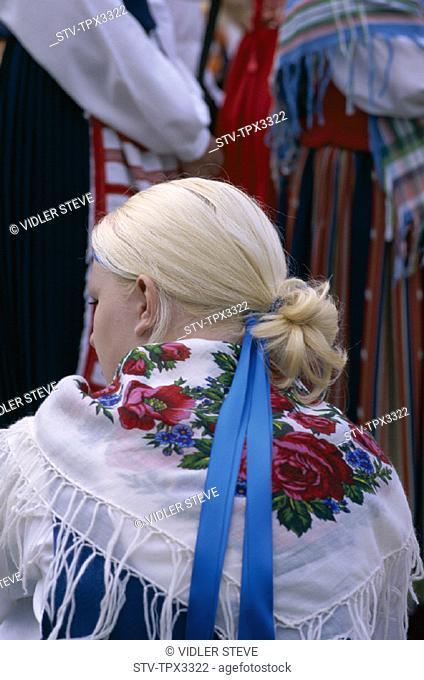 Blond, Dress, Holiday, Landmark, Model, Rear, Release, Stockholm, Sweden, Europe, Swedish, Tourism, Traditional, Travel, Vacatio