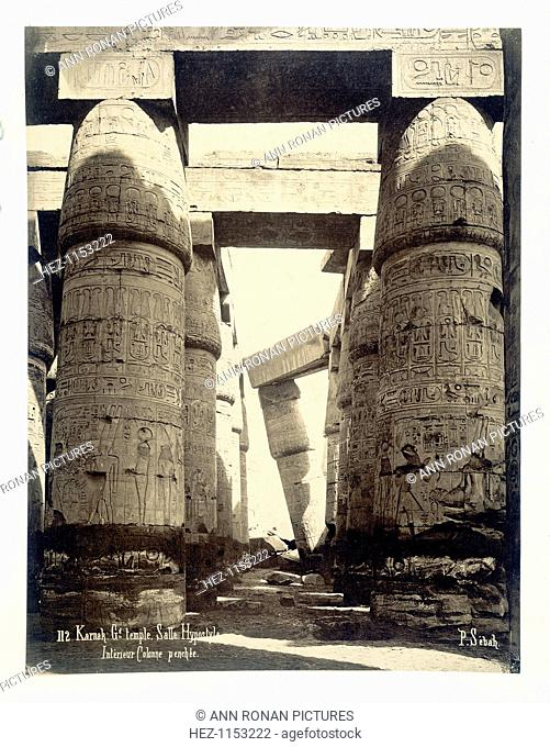Hypostyle hall, temple of Amun-Re, Karnak, Egypt, 1878. Carved and decorated pillars at the temple of Amun-Re at Karnak (Thebes)