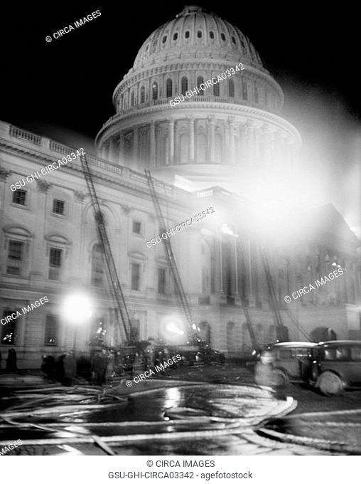 Fire Trucks at U.S. Capitol Building during Fire at Night, Washington DC, USA, Harris & Ewing, January 1930