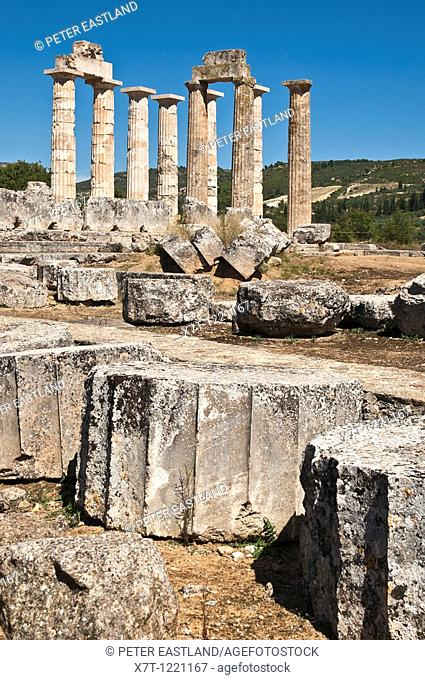 Columns of the Temple of Zeus some recently reconstructed at Ancient Nemea, Korinthia, Peloponnese, Greece