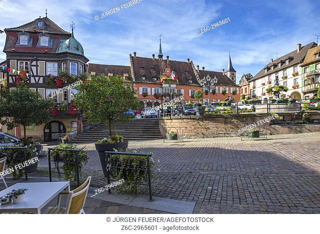 central square in the village Barr, on the Wine Route of Alsace, France