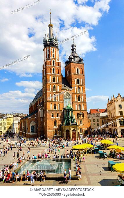 Historical Mariacki church in Krakow, old historical city in Poland, Europe
