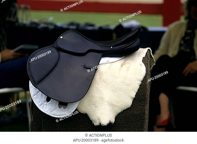 Horse saddle on a stand