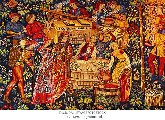 Carpet depicting wine harvest in the Middle Age, Saint Emilion, Gironde, Aquitaine, France