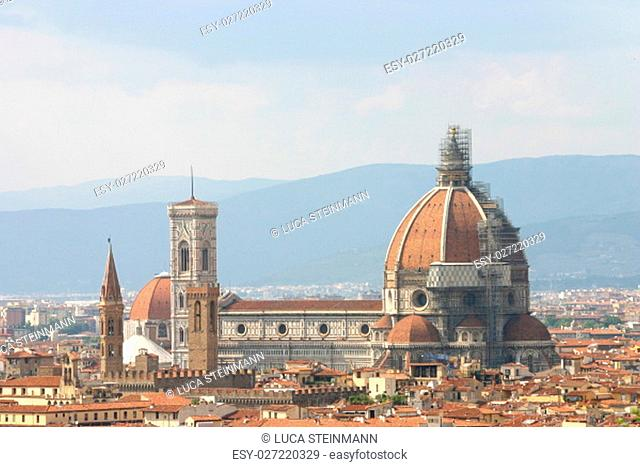 cathedral florence with dome and giotto di torre from piazzale michelangelo