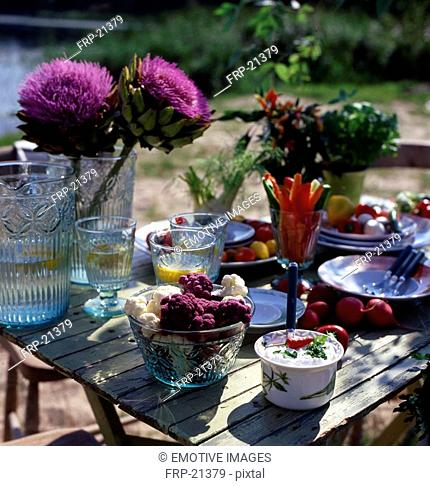 Laid table outdoors with vegetables