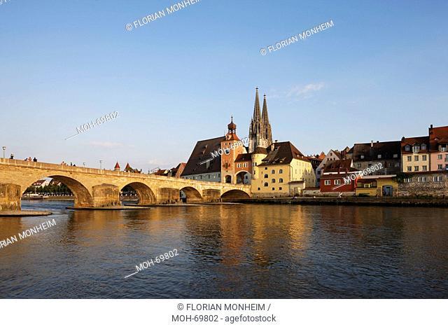 Blick von Nordwesten über die Donau, links die steinerne Brücke
