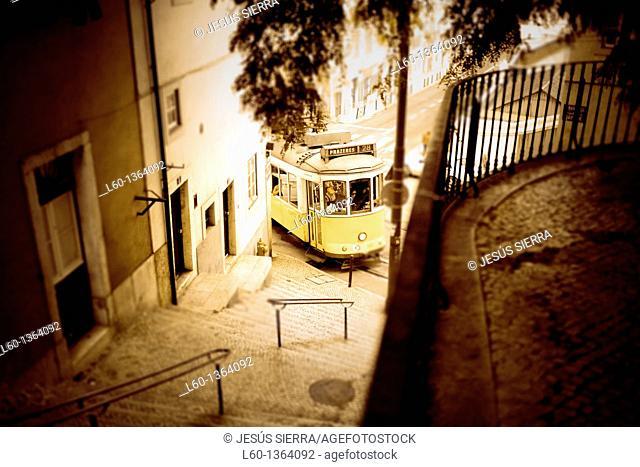 Romantic tram Nº 28, Barrio da Alfama, Lisboa, Portugal